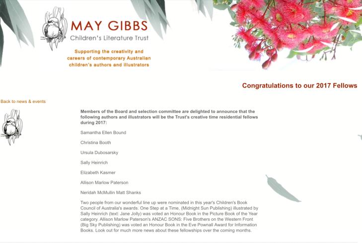 May Gibbs Creative Time Fellows 2017